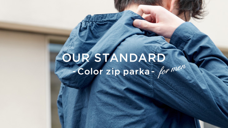 OUR STANDARD – Color Zip Parka for men -