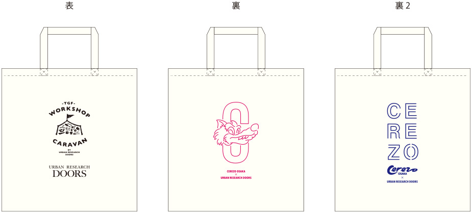 CEREZO OSAKA × URBAN RESEARCH DOORSオリジナルデザイン シルクスクリーン オジリナルエコバッグ 例